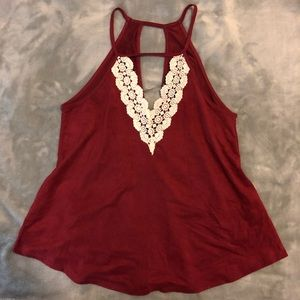 Tops - Red Velvet Lace Frontal Top 🌹